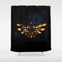 targaryen Shower Curtains featuring Zelda Triforce Red Flame by aleha