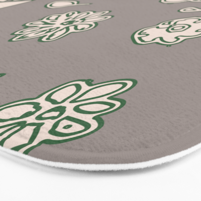 Flower border green Bath Mat
