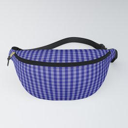 Small Navy Blue Check Plaid Pattern Fanny Pack