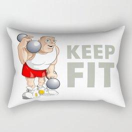 "Funny Bodybuilder said: ""Keep Fit!"". Vector Illustration Rectangular Pillow"