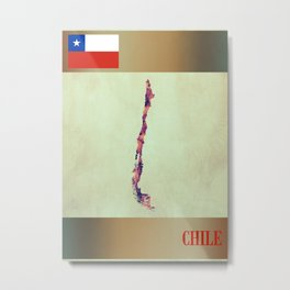 Chile Map with Flag Metal Print