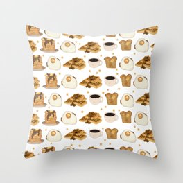 Breakfast Time Pattern on (Egg) White Throw Pillow