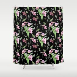 Spring flowers on black background Shower Curtain