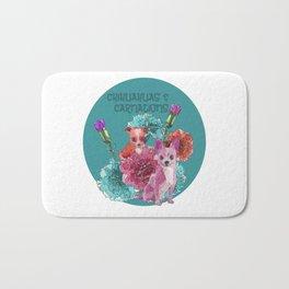 chihuahuas and carnations Bath Mat