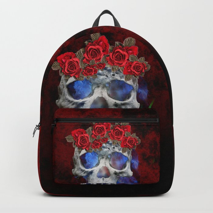 Red, White, and Blue Skull Backpack