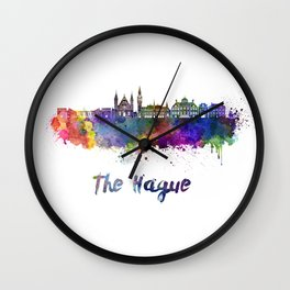 The Hague skyline in watercolor Wall Clock