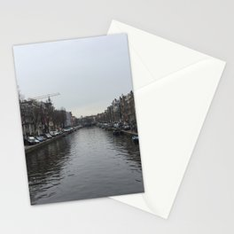 Amsterdam River on a rainy day ideal gift for netherland photography fans and traveling lovers  Stationery Cards