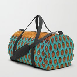 Copper Metal Foil and Aqua Mermaid Scales- Abstract glitter pattern Duffle Bag