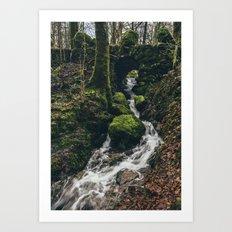 Stone bridge over waterfall near Stockghyll Force. Cumbria, UK. Art Print