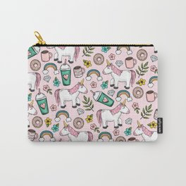 Pink Unicorn, Sweet Pink, Donuts and Frappuccino, Cute Emoji Print for Girls, Tween Decor Carry-All Pouch