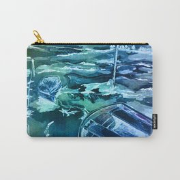 pen and ink boats blue Carry-All Pouch