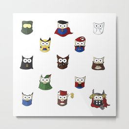 Nerd Boy (Owls) - White Metal Print