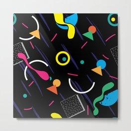 Retro Colorful Black Pattern Metal Print