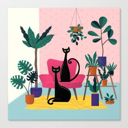 Sleek Black Cats Rule In This Urban Jungle Canvas Print