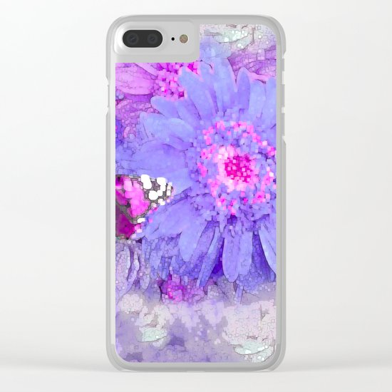 Daisy and Butterfly Clear iPhone Case