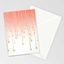 Color block coral faux gold glitter waterdrops ombre Stationery Cards