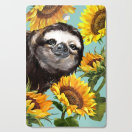 Sloth with Sunflowers Cutting Board