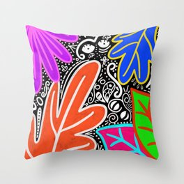 Neon Leaves Throw Pillow