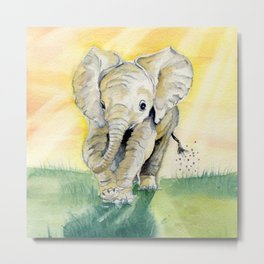 Colorful Baby Elephant Metal Print