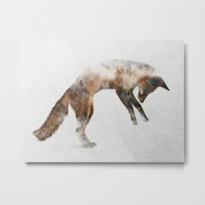 Jumping Fox Metal Print