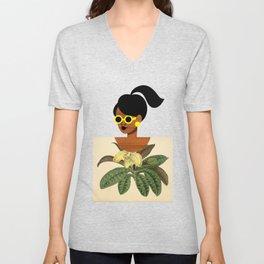Ponytail Girl with Nature Shirt Unisex V-Neck
