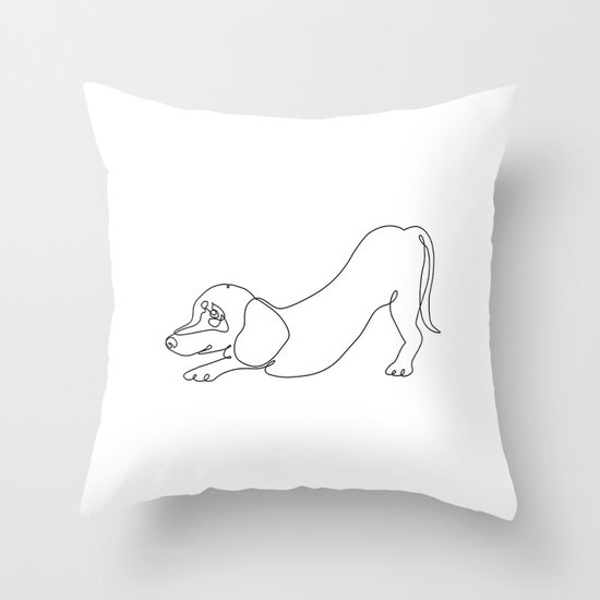 One line Dachshund Downward Dog by huebucket
