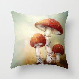 Toadstool Trio Throw Pillow