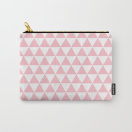 Triangles (Pink/White) Carry-All Pouch