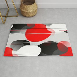 Modern Anxiety Abstract - Red, Black, Gray Rug