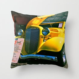 Classic yellow roadster Throw Pillow
