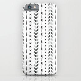 Black and white boho tribal pattern design iPhone Case