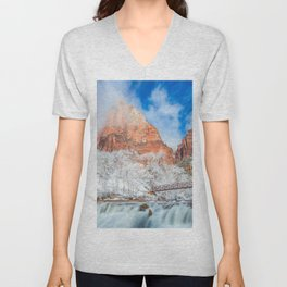 Photos Zion National Park USA Nature Winter Bridges mountain Waterfalls Parks bridge Mountains park Unisex V-Neck