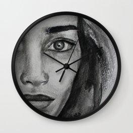 Art, graphic portrait beautiful girl Wall Clock