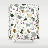 toddler Shower Curtains featuring Animal Chart by Yuliya