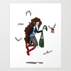 Vampire Artist (in semi-Adventure Time style) Art Print
