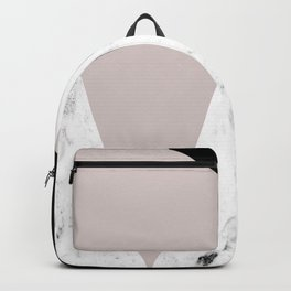 Pink, Black and Marble Geometric Backpack