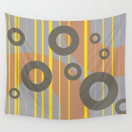Rings and Lines in Yellow grey orange Colors Wall Tapestry