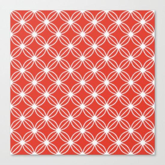 Abstract Circle Dots Red Canvas Print