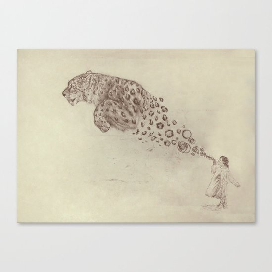 Bubbles the Snow Leopard Canvas Print