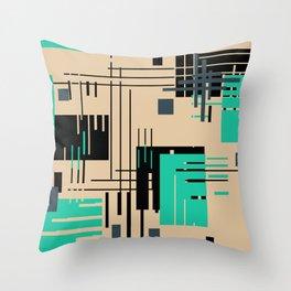 Turquoise brown geometric pattern Throw Pillow