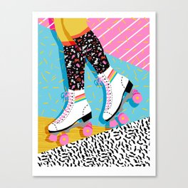 Steeze - 80's memphis rollerskating rad neon trendy art gifts throwback retro vibes Canvas Print