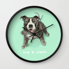 Hug a Staffie Wall Clock