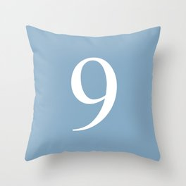 number nine sign on placid blue color background Throw Pillow