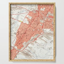 Vintage Map of Jersey City NJ (1955) Serving Tray