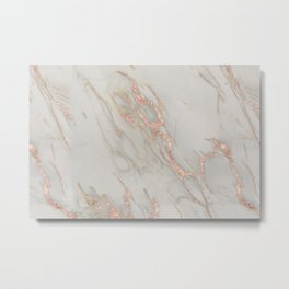 Marble - Rose Gold Marble Metallic Blush Pink Metal Print