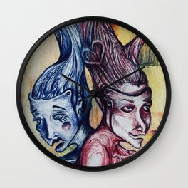 Comedy And Tragedy intwined Wall Clock
