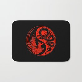 Red and Black Dragon Phoenix Yin Yang Bath Mat
