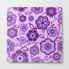 Shades of Purple Flowers Metal Print