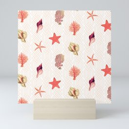 Geometric Shell, Coral, Starfish White Mini Art Print