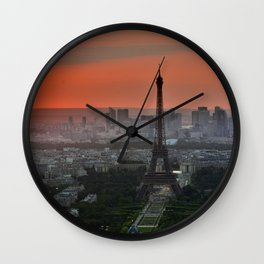 Iconic Eiffel Tower Paris France at Sunset Wall Clock